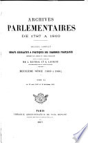 ARCHIVES PARLEMENTAIRES DE 1787 A 1860