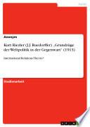 """Kurt Riezler (J.J. Ruedorffer) """"Grundzüge der Weltpolitik in der Gegenwart"""" (1913)"""