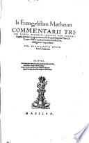 In Euangistam Matthaeum Commentarii