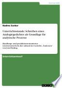 Unterrichtsstunde: Schreiben eines Analogiegedichtes als Grundlage für analytische Prozesse