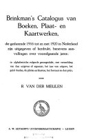 Brinkman's Catalogus der boeken, plaat- en kaartwerken