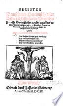 Register deutsch und lateinisch  aller B  cher und Schrifften     Martini Lutheri