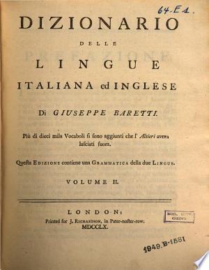 Dizionario delle lingue Italiana ed Inglise