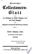 Monatliches Collectaneen-Blatt für die Geschichte der Stadt Neuburg an der Donau und deren Umgegend