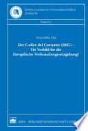 Der Codice del Consumo (2005) - ein Vorbild für die Europäische Verbrauchergesetzgebung?