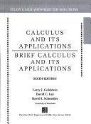 Calculus and its applications  Brief calculus and its applications