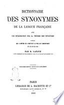 Dictionnaire des synonymes de la langue fran  aise