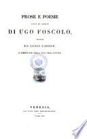 Prose E Poesie Edite Ed Inedite Di Ugo Foscolo