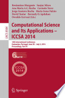 Computational Science and Its Applications - ICCSA 2014