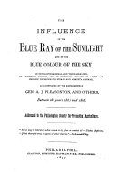 download ebook the influence of the blue ray of the sunlight and of the blue color of the sky pdf epub