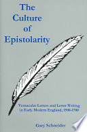 The Culture of Epistolarity
