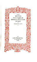 Poems in English  with illustrations by William Blake