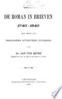De Roman In Brieven 1740 1840