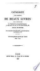 Catalogue d'une collection de beaux livres ...