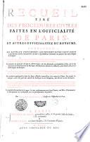 Recueil tir   des proc  dures civiles faites en l officialit   de Paris es autres officialit  s du royaume