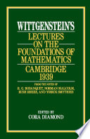 Wittgenstein s Lectures on the Foundations of Mathematics  Cambridge  1939