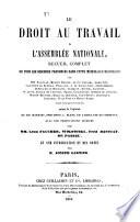 Le Droit Au Travail A L Assembl E Nationale