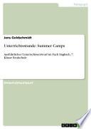 Unterrichtsstunde: Summer Camps (Fach Englisch, 7. Klasse Realschule)