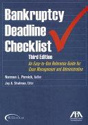 Book Bankruptcy Deadline Checklist