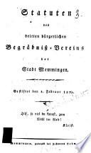 Statuten des dritten bürgerlichen Begräbniß-Vereins der Stadt Memmingen