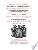Ristretto istorico della vita  virt    e miracoli del b  Michele De Santi