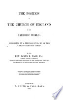 Ebook The Position of the Church of England in the Catholic World, Etc Epub James Robert Page Apps Read Mobile