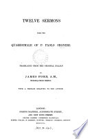 Twelve (Thirteen) sermons from the Quaresimale, tr. by J. Ford