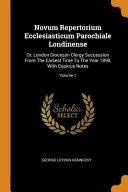 Novum Repertorium Ecclesiasticum Parochiale Londinense
