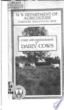 Care and Management of Dairy Cows