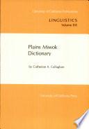 Plains Miwok Dictionary