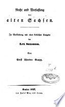 Recht und Verfassung der alten Sachsen