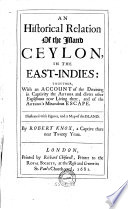 Ebook An Historical Relation of the Island Ceylon in the East-Indies Epub Robert Knox Apps Read Mobile