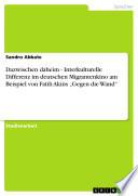 Dazwischen Daheim - Interkulturelle Differenz Im Deutschen Migrantenkino Am Beispiel Von Fatih Akins ,Gegen Die Wand