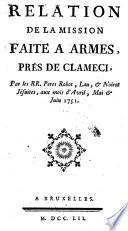 Relation de la mission faite à Armes, près de Clameci