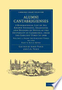 Alumni Cantabrigienses Directory In Four Parts Includes
