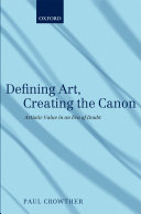Defining Art, Creating the Canon