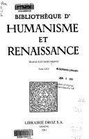 Bibliothèque d'humanisme et Renaissance Travaux et documents