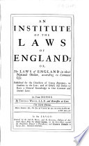 An Institute Of The Laws Of England