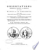 Observations  Historical  Critical  and Medical  on the Wines of the Ancients