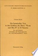 Ein hymnischer Text in den Gräbern des Ḥwy', 'Iʻḥ-ms und Mry-Rʻ in El-ʻAmarna