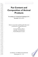 Fat Content and Composition of Animal Products