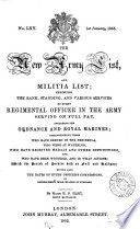 The New Army List And Militia List No Lxv 1st January 1855