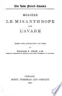 Moliere le Misanthrope and L Avare