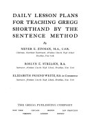 Daily Lesson Plans for Teaching Gregg Shorthand by the Sentence Method