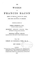The Works Of Francis Bacon Literary And Professional Works book