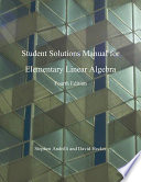 Elementary Linear Algebra Students Solutions Manual