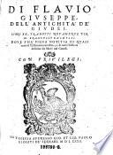 Di Flavio Giuseppe  dell Antichita de Giudei  Libri XX  tradotti novamente per Francesco Baldelli  etc