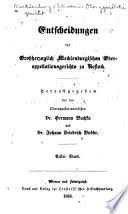 Entscheidungen des Grossherzoglich Meckleanburgischen Oberappellationsgerichts zu Rostock