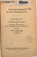 Untersuchungen an der Gattung Acer