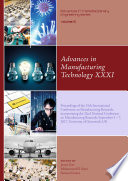 Advances in Manufacturing Technology XXXI